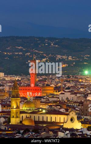 Italy, Florence, city view, night photography, Palazzo Vecchio, in the foreground the Basilica di Santa Maria del Santo Spirito - Stock Photo
