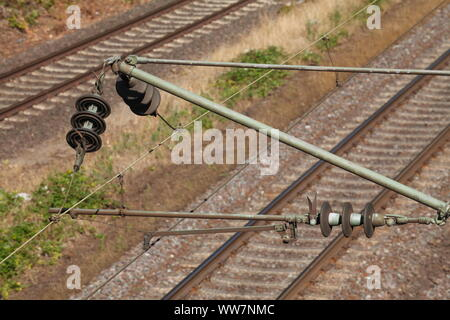 Railway with catenary, Harburg, Hamburg, Germany, Europe - Stock Photo