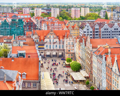 View of Long Market (Długi Targ) from Main Town Hall tower in Gdańsk, Poland - Stock Photo