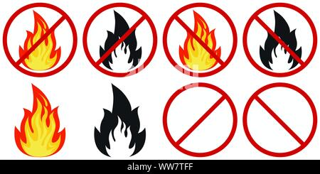 Set of flat design vector fire and no fire sign - colored and black fire crossed out in a red circle isolated on white. - Stock Photo