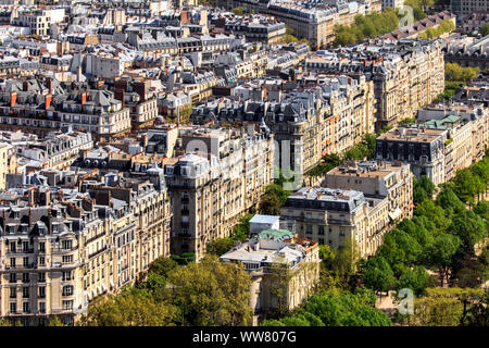 View from the Eiffel Tower over Paris, France, Europe, - Stock Photo