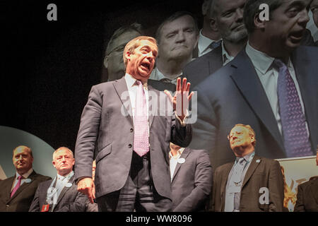 "Southport, Merseyside. 13th Sept, 2019. The Brexit Party conference in North West England, as part of a nationwide tour; Southport Theatre, Southport, the first date on a seven-night ""Conference Tour"" of Britain.Nigel Farage, one-time Ukip boss and current MEP, the saviour of Brexit who is now enjoying a successful second act as the leader of the Brexit Party. 1600 people have paid a fiver each to hear him speak at Southport conference centre in the heart of constituency, given its demography, Southport voted by Remain 51.9%.cent in the referendum. Credit:MWI/AlamyLiveNews - Stock Photo"