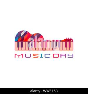 Guitar piano hand drawn flat colorful music vector icon