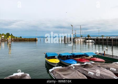 Lake Constance, Meersburg, Baden-Wuerttemberg, Germany, harbour of Meersburg - Stock Photo