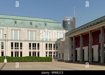 Hall, philharmonic concert hall Essen with RWE tower, Essen, Südviertel, North Rhine-Westphalia, Germany - Stock Photo