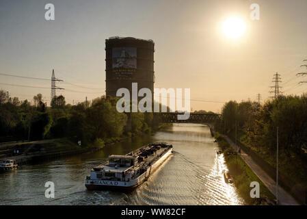 Gasometre and Rhine-Herne Canal, Oberhausen, North Rhine-Westphalia, Germany - Stock Photo