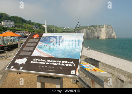 Seafront of Etretat, Seine-Maritime, English Channel, Normandy, France - Stock Photo