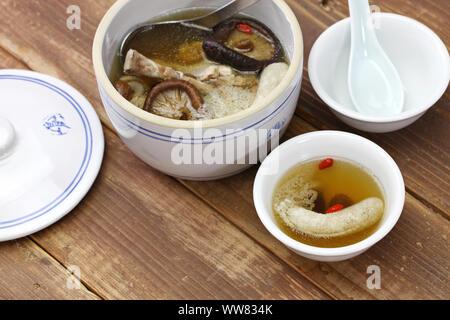 bamboo mushroom soup, chinese yunnan cuisine - Stock Photo