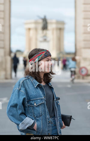 Montpellier, Herault, France, Portrait of a teenage girl in downtown Montpellier - Stock Photo