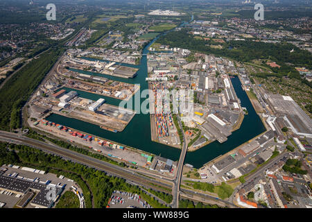 Aerial view, inland port Dortmund, Dortmunder Hafen AG, container terminal Dortmund GmbH, Dortmund railway GmbH, DE infrastructure GmbH, Dortmund, Ruhr area, North Rhine-Westphalia, Germany - Stock Photo