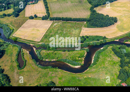 Aerial view, Ems river bend, near Einen, Warendorf, Münsterland, North Rhine-Westphalia, Germany, Europe - Stock Photo