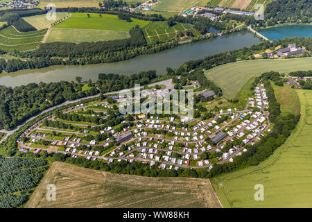 Aerial view, KNAUS Camping Park Hennesee, southern Hennesee, Meschede, Sauerland, North Rhine-Westphalia, Germany - Stock Photo