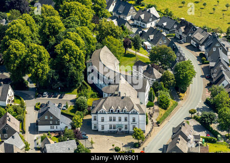 Aerial view, town hall, city administration of the town Schmallenberg, Sauerland, North Rhine-Westphalia, Germany - Stock Photo