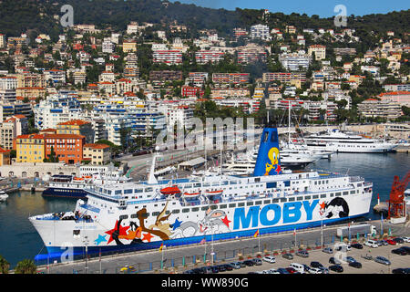 NICE, FRANCE - JUNE 23, 2016: Moby cruise ferry in the port of Nice, Cote d'Azur - Stock Photo
