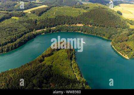 Aerial view, southern Hennesee, MS Hennesee, Meschede, Sauerland, North Rhine-Westphalia, Germany - Stock Photo