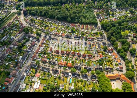 Aerial view, living in Zweckel, semi-detached houses, single-family homes, Schönbergstraße, housing development, Gladbeck, Ruhrgebiet, North Rhine-Westphalia, Germany - Stock Photo