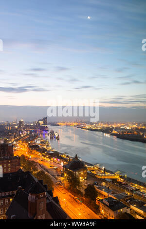 Europe, Germany, Hamburg, view from Hotel Riverside to Elbe with Elbphilharmonie in the morning - Stock Photo
