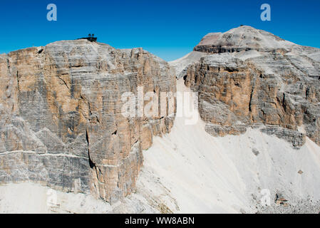 Dolomites, Pordoi peak, Piz Boe, Sella group, Pordoi Pass, aerial photo, Canazei, Trentino, Italy - Stock Photo