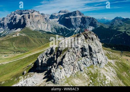 Dolomites, Col Rodella, mountain restaurant, Sella Group, Piz Boe, Piz Gralba, Piz Sella, Sella Towers, Sass Pordoi, aerial view, Fassa Valley, Campitello, Trentino, Italy - Stock Photo