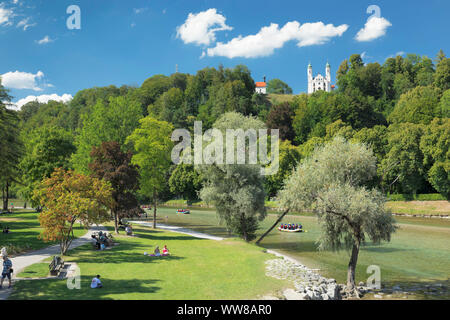 View over the Isar to Kalvarienberg, Bad Tölz, Upper Bavaria, Bavaria, Germany - Stock Photo