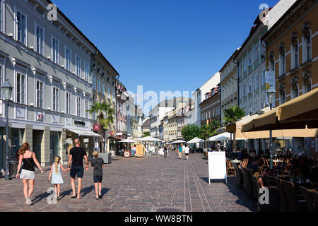 Klagenfurt am Wörthersee, square Alter Platz, open air restaurant, Kärnten, Carinthia, Austria - Stock Photo
