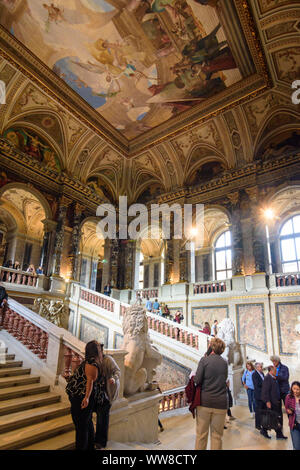 Wien, Vienna, Kunsthistorisches Museum (KHM, Museum of Art History, Museum of Fine Arts), main staircase, 01. Old Town, Wien, Austria - Stock Photo