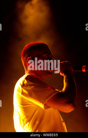 Bologna, ITALY. 13 September, 2019. Italian singer-songwriter Mahmood performs live on September 13, 2019 in Bologna, Italy. Credit: Massimiliano Donati/Alamy Live News - Stock Photo
