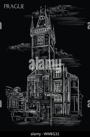 Vector hand drawing Illustration of Old Town Hall in Prague. Landmark of Prague, Czech Republic. Vector illustration in white color isolated on black - Stock Photo