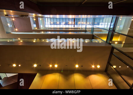 Looking down the stairwells in one of best kept London architecture, England, U.K. - Stock Photo