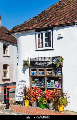 England, East Sussex, Alfriston, Traditional Newsagent Shop Window - Stock Photo