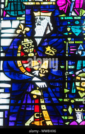 England, Kent, Canterbury, Canterbury Cathedral, Stained Glass Window depicting King Henry I - Stock Photo