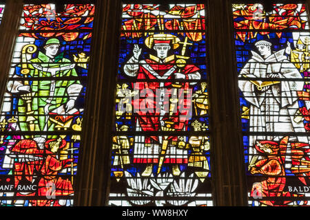 England, Kent, Canterbury, Canterbury Cathedral, Stained Glass Window depicting Saint Anselm Archbishop of Canterbury from 1093-1109 - Stock Photo