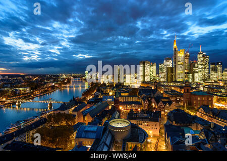 Frankfurt am Main, view from Dom (cathedral) to city center with Römer (Town Hall), St. Paul's Church, skyscrapers and high-rise office buildings in financial district, river Main, Commerzbank Tower, Main Tower, Hessen (Hesse), Germany - Stock Photo