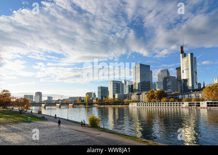 Frankfurt am Main, river Main, skyscrapers and high-rise office buildings in financial district, Commerzbank Tower, cruise ship, Hessen (Hesse), Germany - Stock Photo