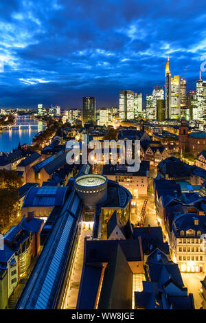 Frankfurt am Main, view from Dom (cathedral) to city center with Römer (Town Hall), St. Paul's Church, skyscrapers and high-rise office buildings in financial district, river Main, Hessen (Hesse), Germany