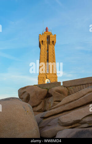 Lighthouse in the morning, Ploumanach lighthouse, Perros-Guirec, Ploumanach, Cote de Granit Rose,  Cotes-dArmor, Brittany, France, Europe - Stock Photo