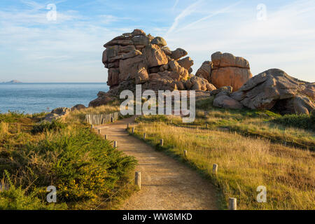 Coastal path in the morning, Ploumanach, Cote de Granit Rose, Cotes-dArmor, Brittany, France, Europe - Stock Photo