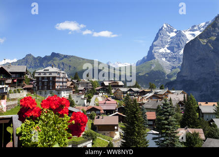 View of Eiger Mountain and the village of Mürren, Lauterbrunnen Valley, Bernese Highlands, Canton of Bern, Switzerland - Stock Photo