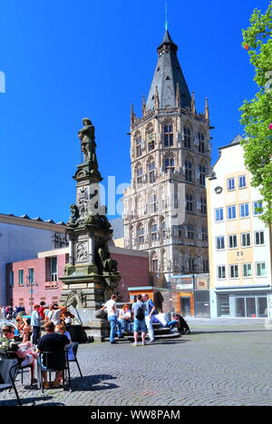 Old market with monument Jan von Werth and town hall tower in the Old Town, Cologne, North Rhine-Westphalia, West Germany, Germany - Stock Photo