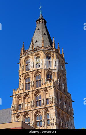 City Hall Tower in the Old Town, Cologne, North Rhine-Westphalia, West Germany, Germany - Stock Photo