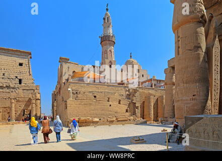 First courtyard with the Abu-el-Haggag Mosque in the Luxor Temple, Luxor, Upper Egypt, Egypt - Stock Photo