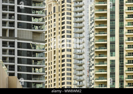 Close-up view of some modern buildings and skyscrapers in Dubai. Dubai is the largest city in the United Arab Emirates (UAE) - Stock Photo