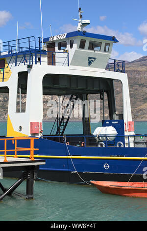 PUERTO IBANEZ, CHILE - FEBRUARY 20, 2016: Cockpit and loading area of the ferry Chelenco in Puerto Ibanez, Chile on February 20, 2016. - Stock Photo