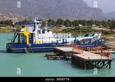 PUERTO IBANEZ, CHILE - FEBRUARY 20, 2016: Ferries on the Northern shore of Lago General Carrera lake in the small town of Puerto Ibanez, Chile - Stock Photo