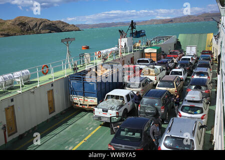 LAGO GENERAL CARRERA, CHILE - FEBRUARY 20, 2016: La Tehuelche car ferry going from Puerto Ibanez to Chile Chico on Lago General Carrera Lake in Chile - Stock Photo