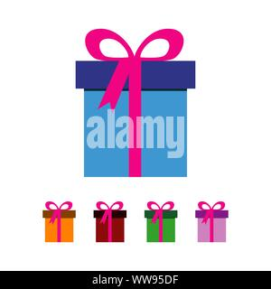 gift box logo vector with ribbon and celebration element - Stock Photo