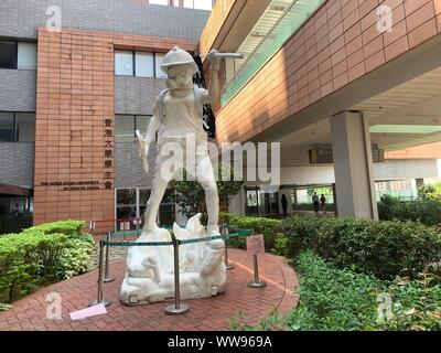 Hong Kong -10 September 2019: the statue of protester is set up in Hong Kong university. Hong Kong people oppose a controversial extradition bill whic - Stock Photo