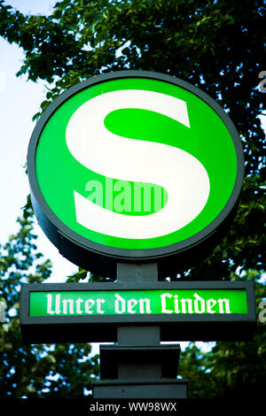 U-Bahn sign indicating a station at Unter den Linden in Berlin Germany - Stock Photo