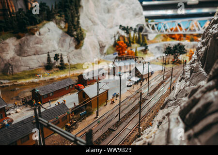 Autumn leaves in a model rail yard at Miniatur Wunderland, Hamburg - Stock Photo