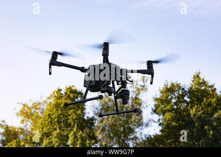 Drone Flight in the Countryside - Commercial Drone Operation - Stock Photo